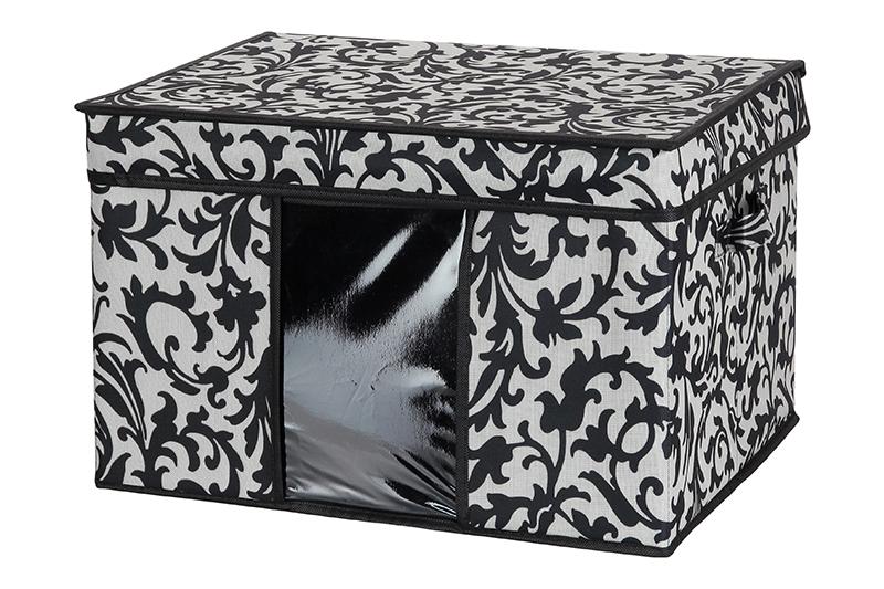 Кофр для хранения El Casa Узор на серебре, складной, 45 х 36 х 30 см840048Компактный складной кофр El Casa Узор на серебре изготовлен из высококачественного полиэстера, который обеспечивает естественную вентиляцию, позволяя воздуху проникать внутрь, но не пропуская пыль. Вставка и стенки из плотного картона хорошо держат форму. Кофр оснащен 2 удобными ручками, которые позволяют использовать его в качестве выдвижного ящика в гардеробе или шкафу. Изделие закрывается откидной крышкой. Прозрачная вставка из ПВХ позволяет легко просматривать содержимое. Оригинальный дизайн сделает вашу гардеробную красивой и невероятно стильной.Размер кофра (в собранном виде): 45 х 36 х 30 см.