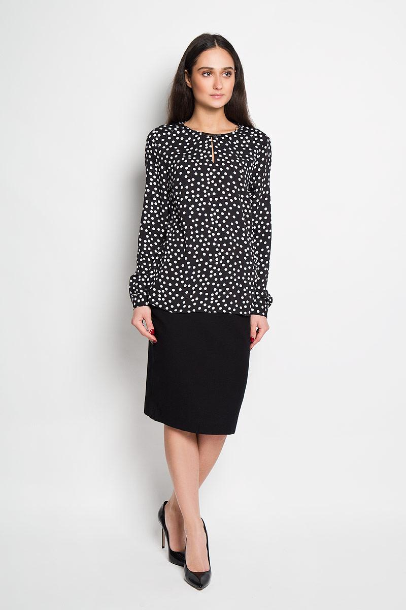 Блузка женская Top Secret, цвет: черный. SBD0567CA. Размер 34 (40)SBD0567CAСтильная женская блуза Top Secret, выполненная из 100% полиэстера, подчеркнет ваш уникальный стиль и поможет создать оригинальный женственный образ.Блузка с длинными рукавами и круглым вырезом горловины застегивается на пуговицу на спинке. Модель украшена принтом в крупный горох и дополнена металлической вставкой на горловине. Манжеты рукавов также застегиваются на пуговицы. Такая блузка идеально подойдет для жарких летних дней. Такая блузка будет дарить вам комфорт в течение всего дня и послужит замечательным дополнением к вашему гардеробу.