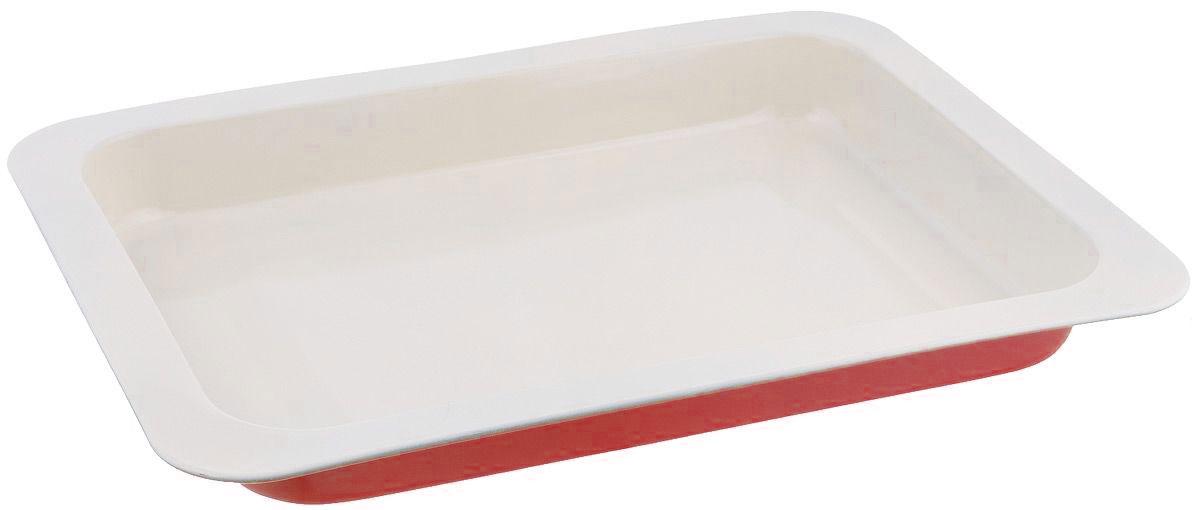 Противень Mayer & Boch, с керамическим покрытием, прямоугольный, цвет: красный, 34,5 х 24 х 5 см22251_красныйПротивень Mayer & Boch выполнен из высококачественной углеродистой стали и снабжен антипригарным керамическим покрытием, что обеспечивает ему прочность и долговечность. Противень равномерно и быстро прогревается, что способствует лучшему пропеканию пищи. Его легко чистить. Готовая выпечка без труда извлекается. Противень подходит для использования в духовке с максимальной температурой 250°С. Перед каждым использованием противень необходимо смазать небольшим количеством масла. Простой в уходе и долговечный в использовании противень Mayer & Boch станет вернымпомощником в создании ваших кулинарных шедевров. Не рекомендуется мыть в посудомоечной машине. Размер противня: 34,5 х 24 х 5 см. Толщина стенки: 0,5 мм.