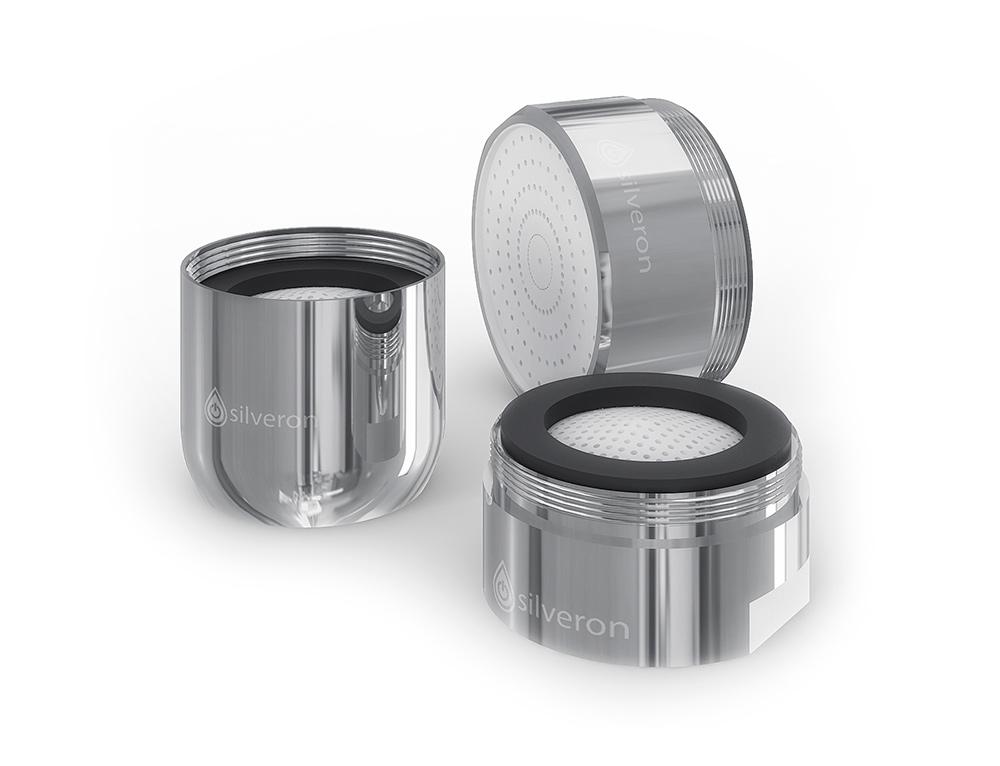 """Набор сильвераторов """"Silveron"""" - это набор фильтр-аэраторов на смесители с элементами на основе наносеребра.   Преимущества:  - серебро высокоэффективно против подавляющего числа бактерий, живущих во влажной и  теплой среде,   - струя воды становится более мягкой за счет аэрации - насыщения воды пузырьками воздуха,  - дает снижение расхода воды на 30%,  - фильтрация воды от механических примесей.    В комплекте 3 аэратора диаметром 22/24//28 мм, ключ для монтажа 80 х 50 х 18 мм."""
