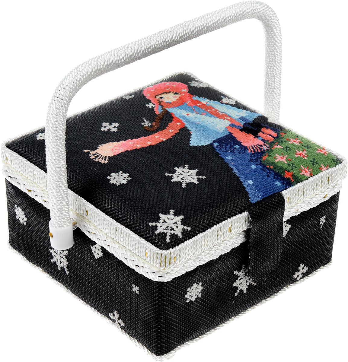 Шкатулка для рукоделия RTO Девочка с шарфом, 21 х 21 х 13 см набор для вышивания крестом rto чайник с брелоком 3 х 3 см
