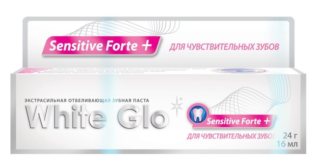 White Glo Зубная паста, отбеливающая, для чувствительных зубов, 24 г120919Низкообразивная паста содержит нитрата калия, снижая острую боль и дискомфорт, успокаивает нервные окончания и защищает от боли, создавая защитный слой, позволяя наслаждаться такими простыми удовольствиями как мороженное, фрукты или холодные напитки. Эффективно укрепляет зубы, увеличивая плотность эмали и устраняя причину повышенной чувствительности.
