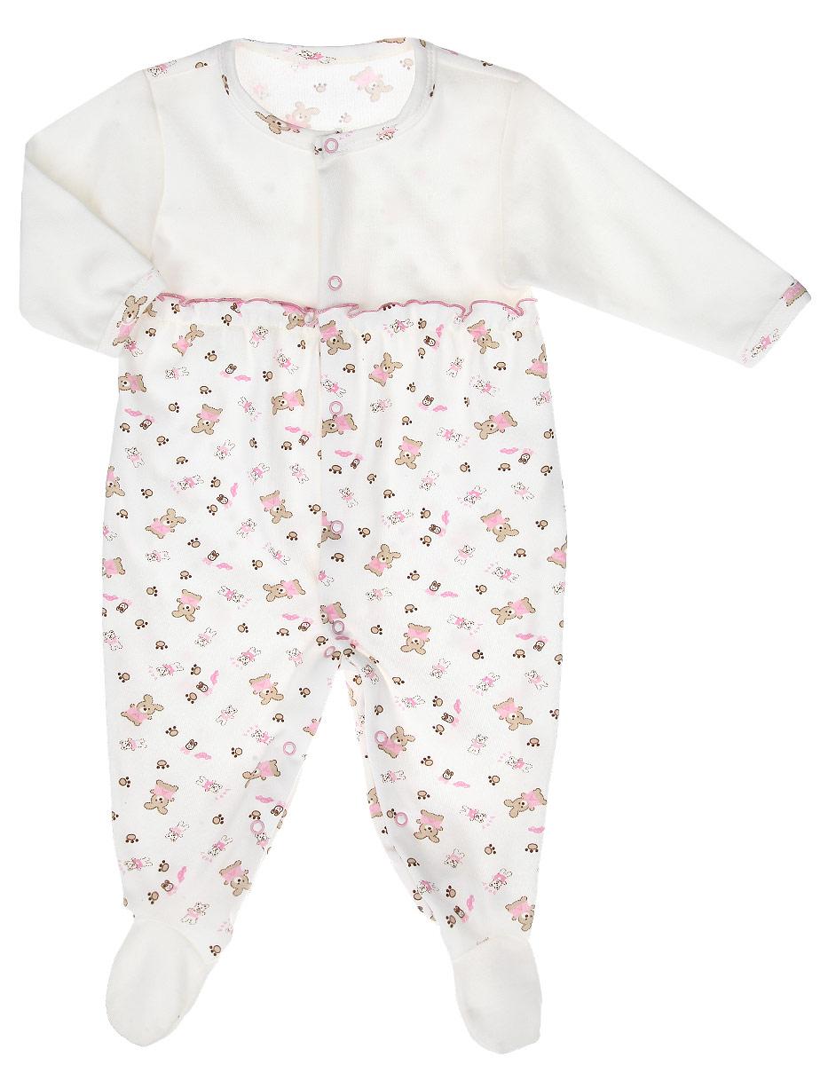 Комбинезон для девочки Клякса, цвет: молочный, розовый. 33К-555. Размер 5633К-555Комбинезон для девочки Клякса полностью соответствует особенностям жизни младенца в ранний период, не стесняя и не ограничивая его в движениях. Выполненный из натурального хлопка, он очень приятный на ощупь, не раздражает нежную и чувствительную кожу ребенка, позволяя ей дышать.Комбинезон с круглым вырезом горловины, длинными рукавами и закрытыми ножками имеет застежки-кнопки от горловины до щиколоток, которые помогают легко переодеть младенца или сменить подгузник. Низ рукавов дополнен мягкими широкими манжетами, не пережимающими запястья ребенка. Модель оформлена принтом с изображением зайчиков и мишек, украшена оборкой на груди. В таком комбинезоне спинка и ножки младенца всегда будут в тепле, кроха будет чувствовать себя комфортно и уютно.