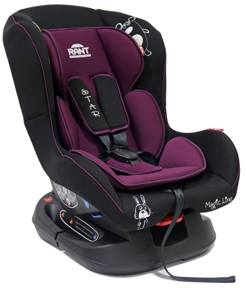 Rant Автокресло Star цвет фиолетовый до 18 кг4630008876688Детское автокресло Rant Star предназначено для детей с рождения и до 18 кг (приблизительно до 4-х лет). Автокресло может устанавливаться как по ходу движения, так и против хода движения. Для новорожденного малыша (0+, 9 кг) автокресло фиксируется в автомобиле против хода движения (лицом назад) пока малыш научится хорошо сидеть. С 7-8 месяцев автокресло фиксируется лицом вперед и эксплуатируется приблизительно до 4-х лет (9+, 18 кг).Особенности: Удобное сидение анатомической формы с мягким матрасиком делает кресло удобным, комфортным и безопасным для малышей. Усиленная мягкая боковая защита обеспечит безопасность и защитит ребенка от ударов при боковых столкновениях. Спинка автокресла имеет регулировку наклона в 3-х положениях. Положение наклона спинки автокресла для комфортного сна в длительных поездках легко регулируются одной рукой при помощи специального рычажка, расположенного в передней части автокресла под чехлом. Автокресло оснащено 5-ти точечными ремнями безопасности с мягкими плечевыми накладками (уменьшают нагрузку на плечи малыша). Накладки обеспечивают плотное прилегание и надежно удержат малыша в кресле в случае ударов. Ремни удобно регулировать под рост и комплекцию ребенка без особых усилий. Автокресло Star имеет прочную базу, позволяющую устанавливать кресло не только в автомобиле, но и на других ровных твердых поверхностях. Съемный чехол автокресла Star изготовлен из гипоаллергенной эластичной ткани, легко чистится и стирается вручную или в деликатном режиме в стиральной машине при температуре 30°.Крепление и установка: Установка автокресла возможна в двух положениях: против хода движения (если малышу от 0 до 7-8 месяцев) или по ходу движения (если малышу от 7-8 месяцев и до 4-х лет). Кресло легко и быстро крепится в автомобиле с помощью штатных ремней безопасности. Правильность прохождения ремней безопасности обеспечивается специальными направляющими зацепками, предусмотренными по бокам авто