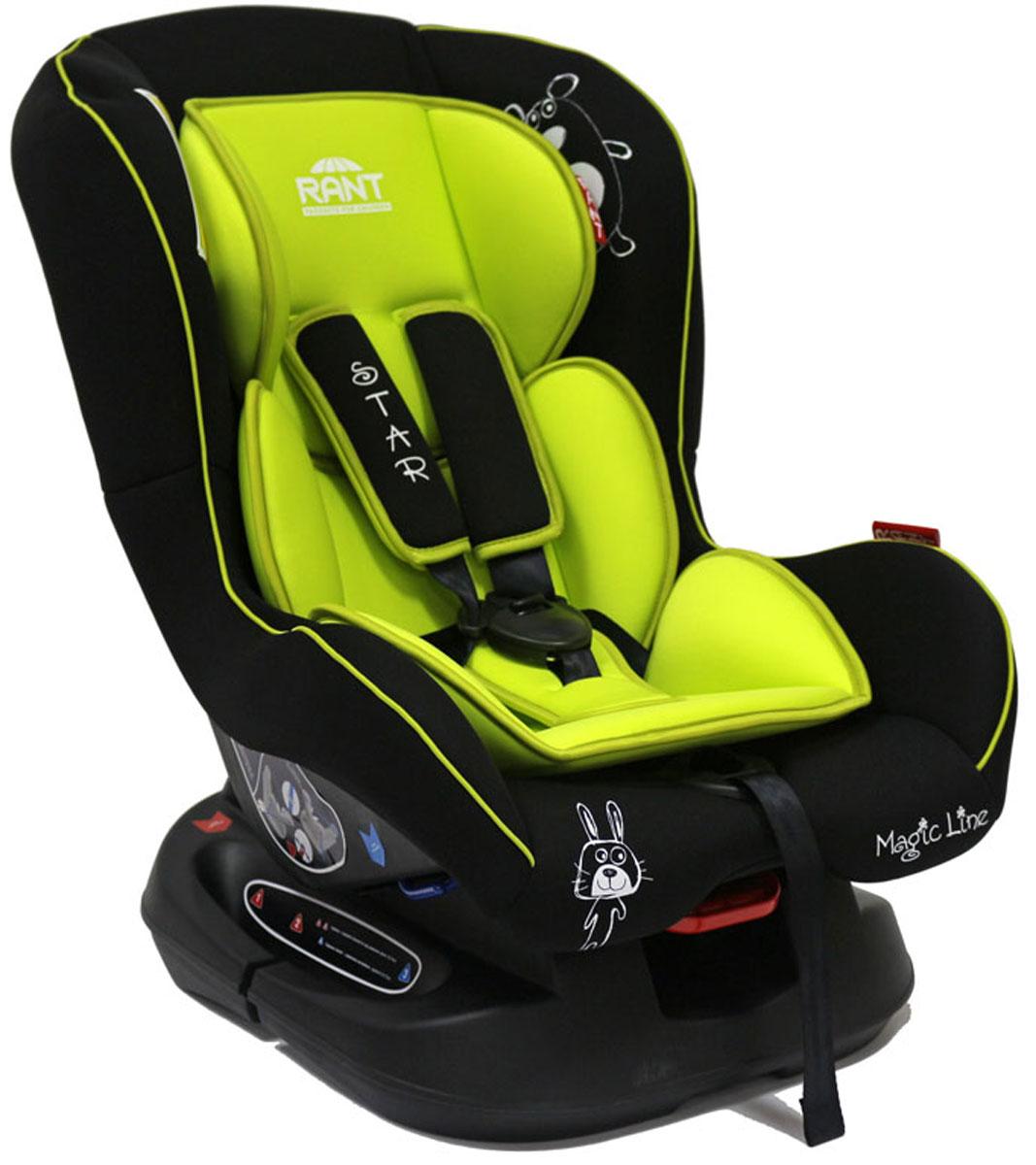 Rant Автокресло Star цвет салатовый до 18 кг4630008876718Детское автокресло Rant Star предназначено для детей с рождения и до 18 кг (приблизительно до 4-х лет). Автокресло может устанавливаться как по ходу движения, так и против хода движения. Для новорожденного малыша (0+, 9 кг) автокресло фиксируется в автомобиле против хода движения (лицом назад) пока малыш научится хорошо сидеть. С 7-8 месяцев автокресло фиксируется лицом вперед и эксплуатируется приблизительно до 4-х лет (9+, 18 кг). Особенности: Удобное сидение анатомической формы с мягким матрасиком делает кресло удобным, комфортным и безопасным для малышей. Усиленная мягкая боковая защита обеспечит безопасность и защитит ребенка от ударов при боковых столкновениях. Спинка автокресла имеет регулировку наклона в 3-х положениях. Положение наклона спинки автокресла для комфортного сна в длительных поездках легко регулируются одной рукой при помощи специального рычажка, расположенного в передней части автокресла под чехлом. Автокресло оснащено 5-ти точечными ремнями безопасности с мягкими плечевыми накладками (уменьшают нагрузку на плечи малыша). Накладки обеспечивают плотное прилегание и надежно удержат малыша в кресле в случае ударов. Ремни удобно регулировать под рост и комплекцию ребенка без особых усилий. Автокресло Star имеет прочную базу, позволяющую устанавливать кресло не только в автомобиле, но и на других ровных твердых поверхностях. Съемный чехол автокресла Star изготовлен из гипоаллергенной эластичной ткани, легко чистится и стирается вручную или в деликатном режиме в стиральной машине при температуре 30°.Крепление и установка: Установка автокресла возможна в двух положениях: против хода движения (если малышу от 0 до 7-8 месяцев) или по ходу движения (если малышу от 7-8 месяцев и до 4-х лет). Кресло легко и быстро крепится в автомобиле с помощью штатных ремней безопасности. Правильность прохождения ремней безопасности обеспечивается специальными направляющими зацепками, предусмотренными по бокам авто