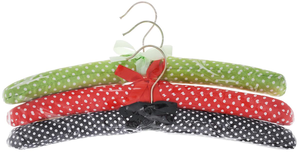 Набор вешалок для одежды Home Queen Горошек, цвет: зеленый, красный, черный, 3 шт набор для специй home queen цыплята близнецы с подставкой цвет желтый зеленый 3 предмета
