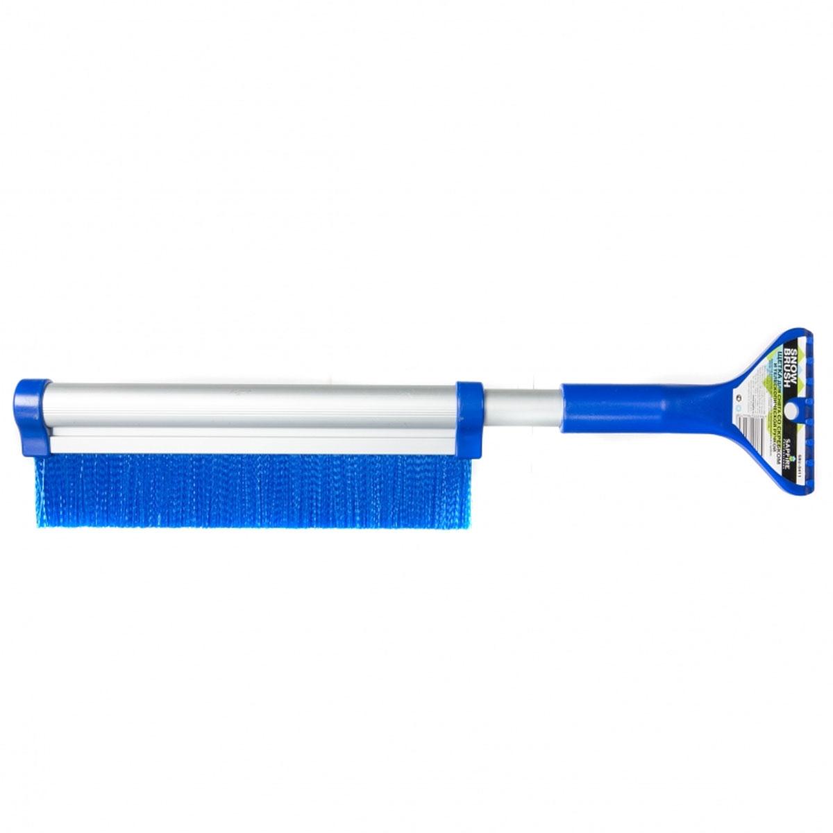 Щетка для снега Sapfire, со скребком и телескопической ручкой, цвет: синий, 42-64 см0411-SBU_синийЩетка Sapfire предназначена для удаления снега и льда. Имеет легкую поворотную телескопическую рукоятку из прочного алюминиевого сплава. Удобная выдвижная рукоятка облегчает процесс чистки крыши автомобиля. Мягкая щетина, изготовленная из прочного полимера, бережно удаляет снег, не царапая лакокрасочное покрытие. Щетка оснащена мощным скребком с зубьями для толстого льда.Ширина скребка: 9,5 см.Длина рабочей части щетки: 25,5 см.Максимальная длина щетки: 64 см.Минимальная длина щетки: 42 см.