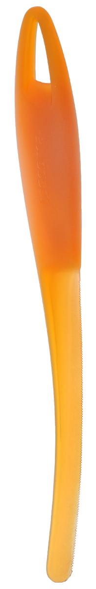 Нож для арбуза и дыни Tescoma Presto, цвет: оранжевый, длина 23 см420622_оранжевыйНож Tescoma Presto предназначен для отделения кожуры арбуза и дыни от мякоти. Подходит для арбузов, желтой дыни, подмаренника, мускусной дыни. Нож выполнен из высококачественного устойчивого пластика.Можно мыть в посудомоечной машине.