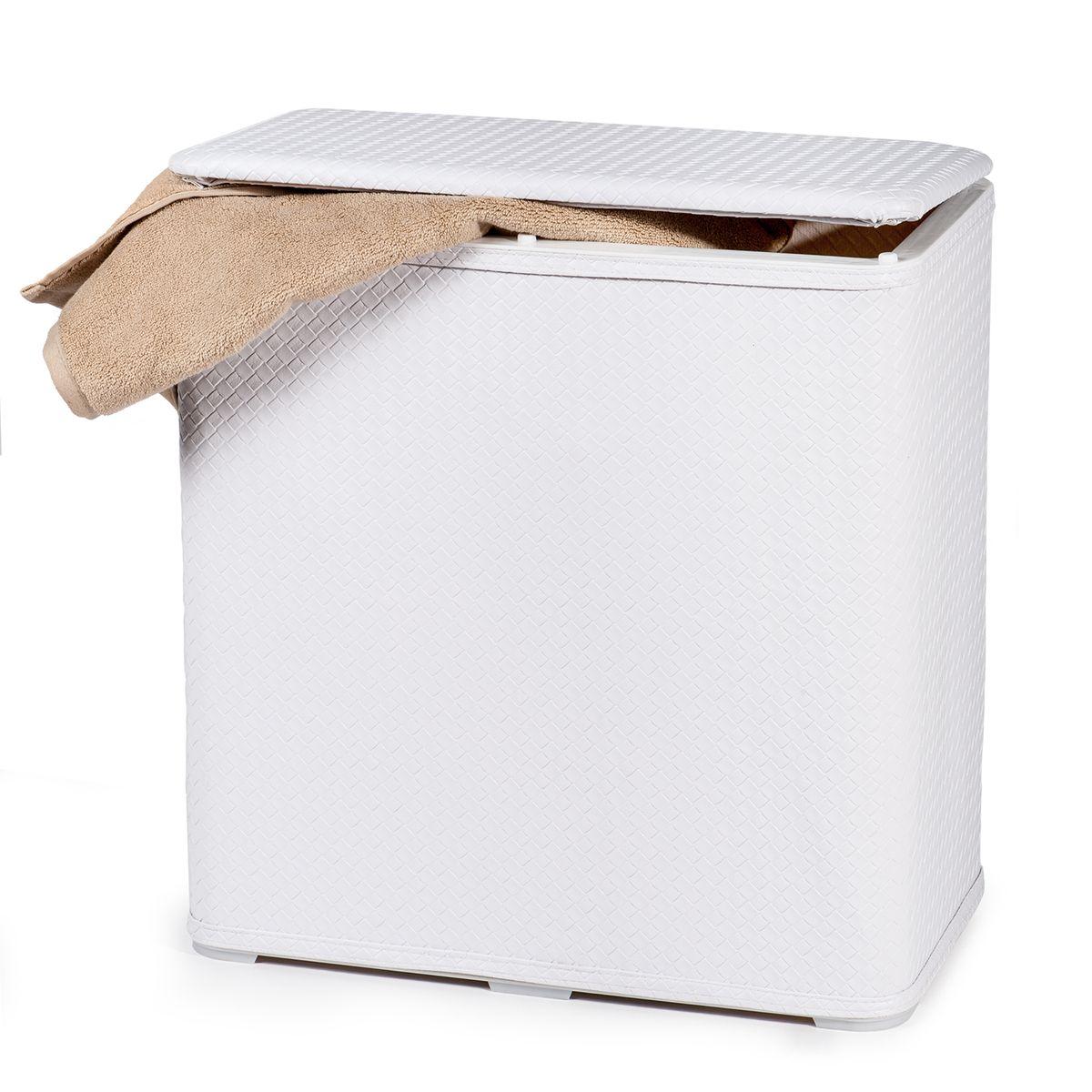 Корзина для белья Tatkraft Nord, 65 л20177Корзина для белья Tatkraft Nord-это функциональная и полезная вещь, которая не только сохранит ваше белье, но и стильно украсит интерьер помещения.Корзина имеет белый чехол из легко моющегося, износостойкого, устойчивого к влаге ПВХ, каркас из АБС пластика.Удобная крышка на петлях. Моментальная сборка, компактна в сложенном виде.