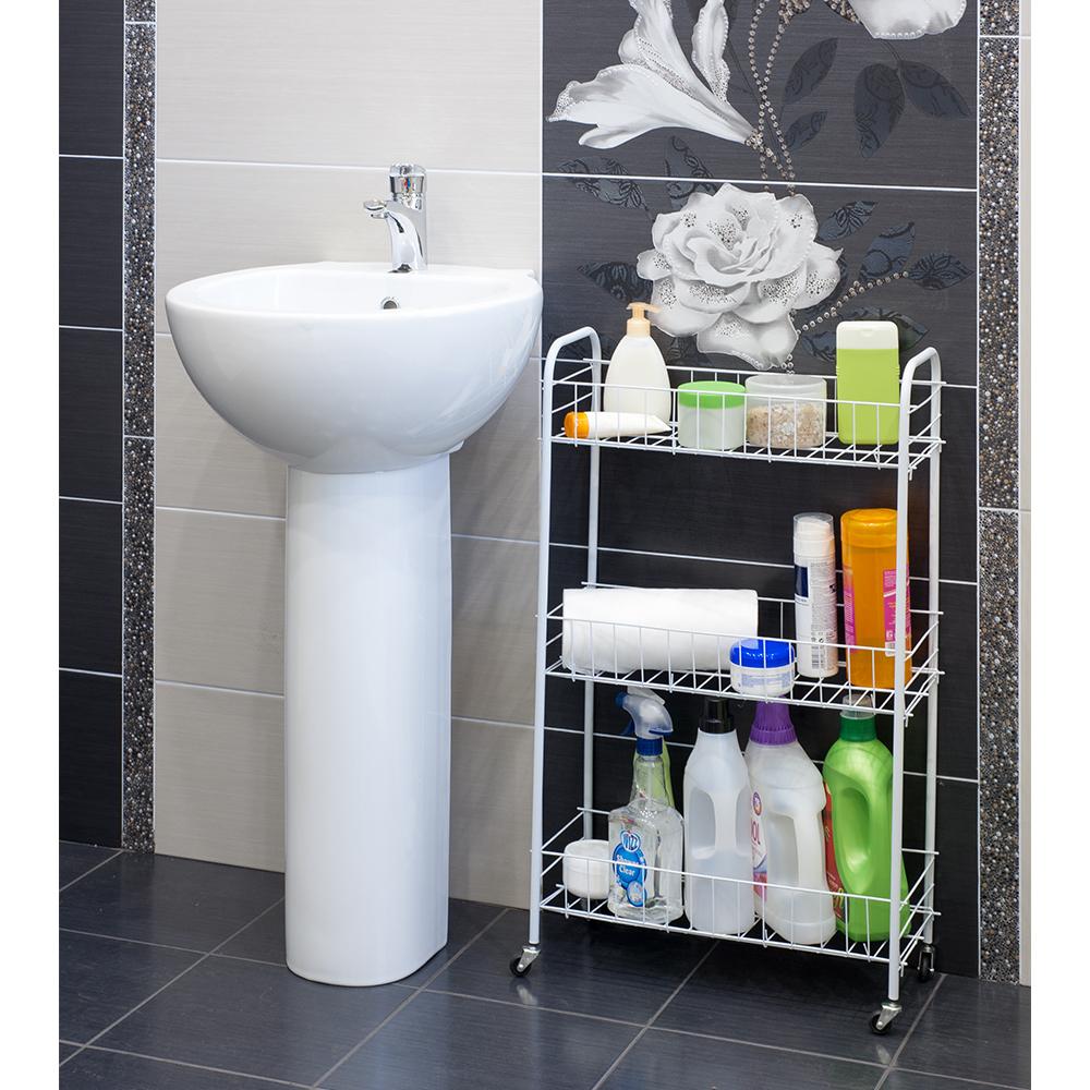 """Трехуровневая тележка """"Artmoon"""" - это отличное решение для ванной комнаты, которое позволит создать дополнительное пространство для хранения ваших вещей. Маленькие колесики добавляют изделию больше мобильности, а стальные трубы и прочная проволока обеспечат высокую надежность. Размеры модели специально подобраны таким образом, чтобы легко вместить тележку даже в ограниченном пространстве.Размер тележки: 50 х 21 х 81 см."""