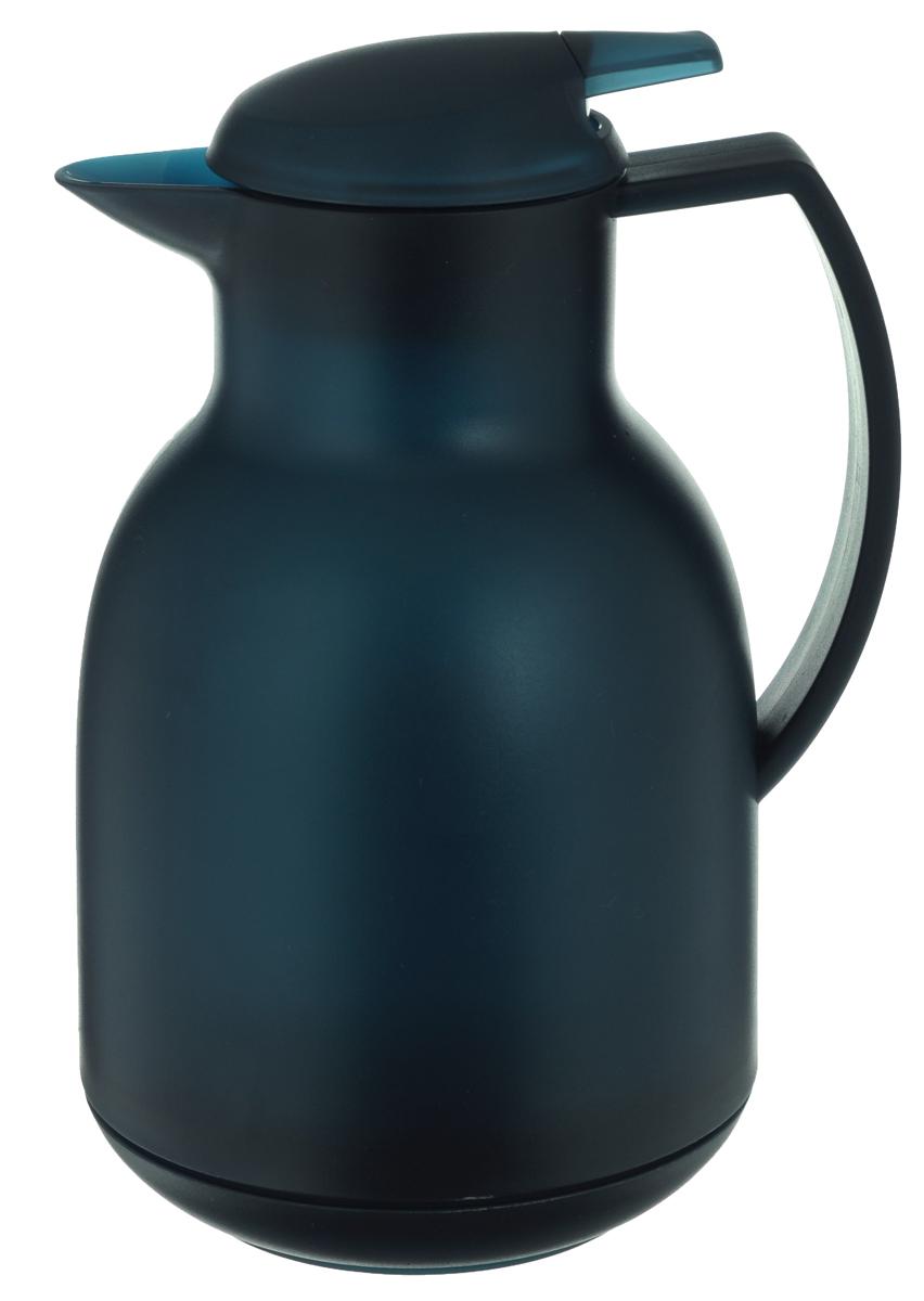 Чайник-термос Leifheit Bolero, цвет: темно-синий, 1 л28343Чайник-термос Leifheit Bolero имеет корпус, выполненный из высококачественного пластика. Двустенная вакуумная изолирующая стеклянная колба гарантирует наилучшую температурную изоляцию и сохраняет горячие напитки теплыми более 12 часов, а холодные напитки прохладными до 24 часов. Благодаря практичной нажимной клавише чайник очень прост и удобен в обращении. Открыть-налить-закрыть - все одной рукой. Диаметр по верхнему краю: 8,3 см. Диаметр дна: 10 см. Высота изделия (с учетом крышки): 25 см.