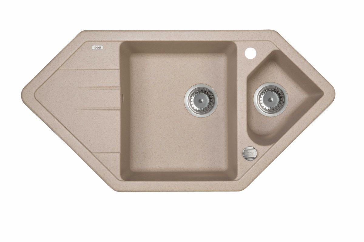 Мойка Iddis Vane G, Granucryl, угловая, 1, 1/2 чаши, цвет: песочный, 96 х 50 см. V28P965i87V28P965i87Мойки для кухни Iddis производятся из особого материала Granucryl: 80% натуральной гранитной крошки производства Германии, 20% акриловой смолы. Благодаря этому, он имеет высокую устойчивость к физическим и механическим воздействиям, стойкость к воздействию средств бытовой химии и перепадам температур во время эксплуатации - свойства, необходимые для комфортного и надежного использования мойки на современной кухне.Термостойкость. Granucryl выдерживает температуру до 280С, что позволяет хозяйкам ставить на мойку даже раскаленную посуду во время приготовления пищи. Стойкость цвета. Однородность материала Granucryl и высокотемпературная пигментация гранитной крошки обеспечивает первозданную яркость цвета мойки в течение всего периода эксплуатации. Пигментация происходит во вращающихсяпечах при температуре до 600 градусов. Каждая частица гранита химически связывается с пигментом, получая свой неповторимый цвет. При этом цвет никогда не выцветает и не может быть удален с поверхности мойки.Практичность.Мелкие царапины, образующиеся при использовании, не видны на мойках IDDIS благодаря однородной структуре и пигментации гранитной крошки материала Granucryl. Гигиеничность.Состав материала Granucryl препятствует размножению бактерий на поверхности моек, что гарантирует их безопасность в условиях повышенной влажности кухни. Гигиеничность материала Granucryl подтверждена немецким институтом гигиены.Глубина чаш моек Granucryl составляет 210 и 165 мм, размеры 360 х 430 и 255 х 205 мм.Мойки Granucryl имеют полный комплект для установки: шаблон для выреза отверстия в столешнице, крепления, автоматический выпуск с переливом и плоский сифон с возможностью подключения посудомоечной или стиральной машины. Наличие готовых отверстий под смеситель и кнопку донного клапана позволяет быстро и легко установить эти изделия на мойку. Мойки Granucryl, благодаря составу материала, а также толщине