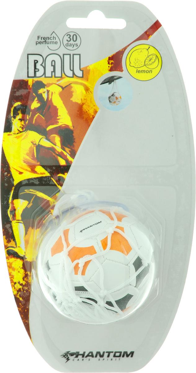 Ароматизатор Phantom Ball. Lemon, цвет: белый, оранжевый, черный, с ароматом лимона3204_ белый, оранжевый, черныйОригинальный ароматизатор Phantom Ball. Lemon, выполненный из высококачественной искусственной кожи и полипропилена, имитирует настоящий футбольный мяч. Повесьте ароматизатор в любом удобном месте - в салоне автомобиля, дома или в офисе - и насаждайтесь стойким ароматом лимона!Состав: полипропилен, искусственная кожа, отдушка.