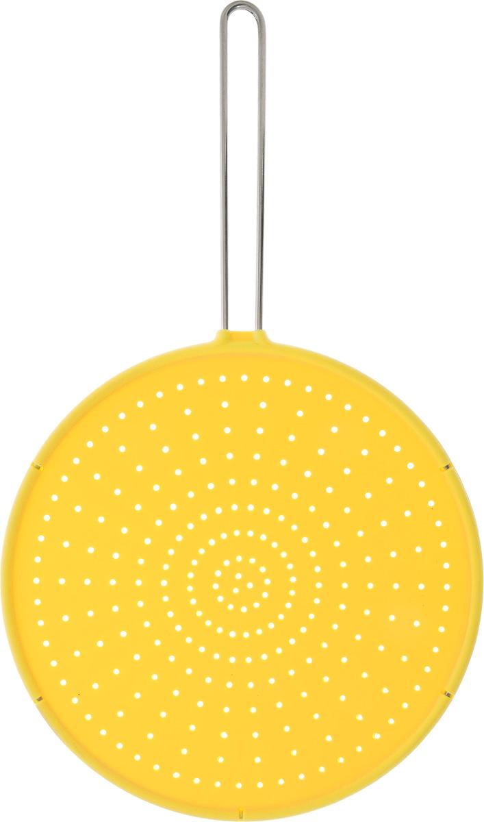 Брызгогаситель Tescoma Fusion, цвет: желтый, диаметр 28 см638470_ желтыйСито охранное Tescoma Fusion замечательно оберегает плиту от загрязнения при жарке. Предназначено для сковород и посуды диаметром 28 см и меньше. Выполнено из первоклассного силикона, термостойкость от -40°С до +230°С. Ручка изготовлена из нержавеющей стали.Можно мыть в посудомоечной машине.Диаметр сита: 28 см.Длина ручки: 18,5 см.