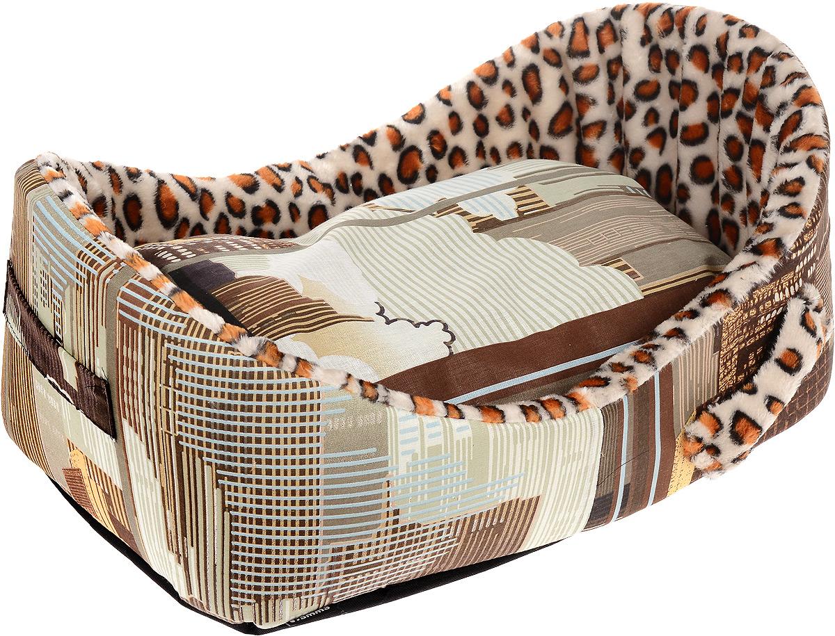 Лежак для кошек и собак Гамма Леопард, 58 х 38 х 22 см гамма миска двойная для кошек и собак