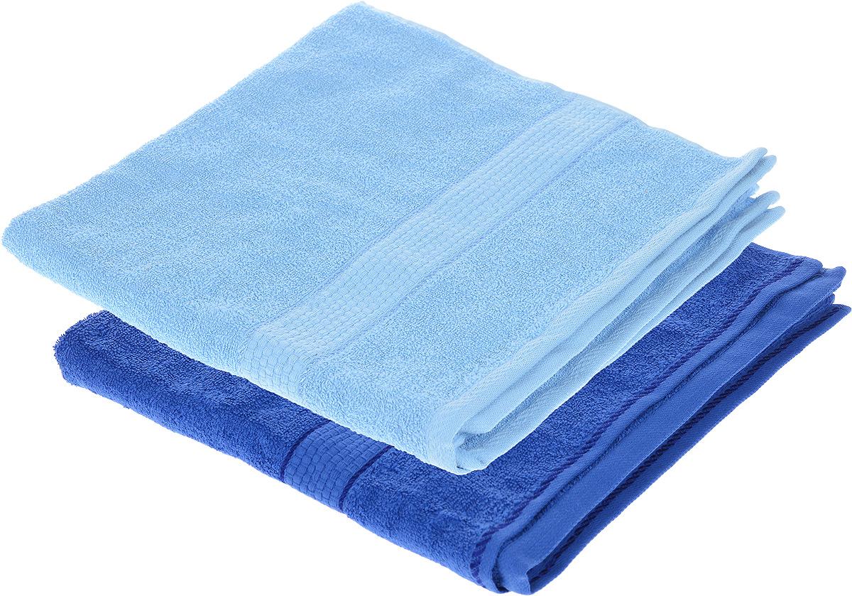 "Набор махровых полотенец ""Aisha Home Textile"", цвет: голубой, синий, 70 х 140 см, 2 шт"