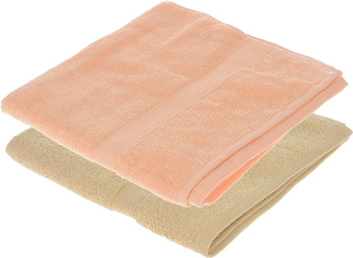 Набор махровых полотенец Aisha Home Textile, цвет: бежевый, персиковый, 70 х 140 см, 2 штУзТ-ПМ-104-03-24Набор Aisha Home Textile состоит из двух махровых полотенец, выполненных из натурального 100% хлопка. Изделия отлично впитывают влагу, быстро сохнут, сохраняют яркость цвета и не теряют формы даже после многократных стирок.Полотенца Aisha Home Textile очень практичны и неприхотливы в уходе. Комплектация: 2 шт.