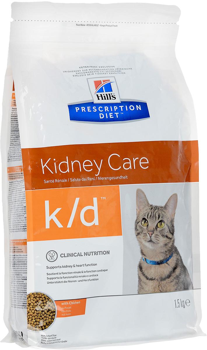 Корм сухой Prescription Diet Kidney Care для взрослых кошек, для поддержания функции почек и сердца, с курицей, 1,5 кг