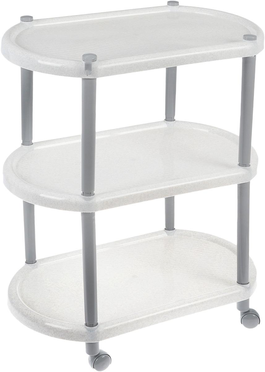 Этажерка овальная Полимербыт, на колесиках, цвет: белый мрамор, 3 полкиC945_белый мраморОвальная этажерка Полимербыт с 3 полками выполнена из пластика и предназначена для хранения различных предметов на кухне, в ванной или прихожей. На кухне в ней можно хранить овощи и фрукты, в ванной - различные ванные принадлежности, в прихожей - обуви и аксессуары. Для удобства перемещения этажерка оснащена колесиками.Очень удобная и компактная, но в тоже время вместительная, она прекрасно впишется в пространство любого помещения. Этажерка придется особенно кстати, если у вас небольшая ванная или кухня: она займет минимум пространства. Легко собирается и разбирается.