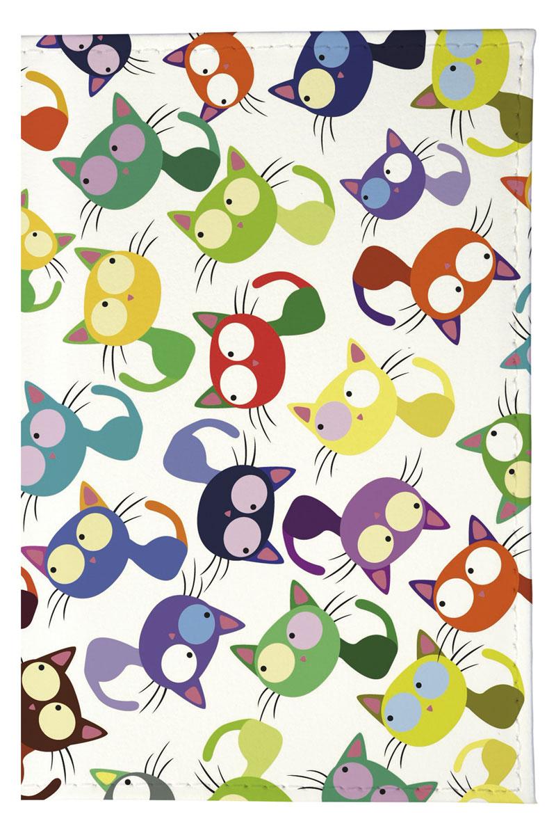 Обложка для паспорта женская Mitya Veselkov Цветные кошки - мешанина, цвет: мультиколор. OZAM204