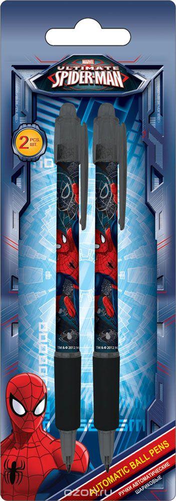 Ручки автоматические шариковые, цвет пасты синий, 2 шт. Печать на корпусе - термоперенос. Упаковка - блистер, 500 г/м2, 4+1, европодвес, Spider-man, Kinderline