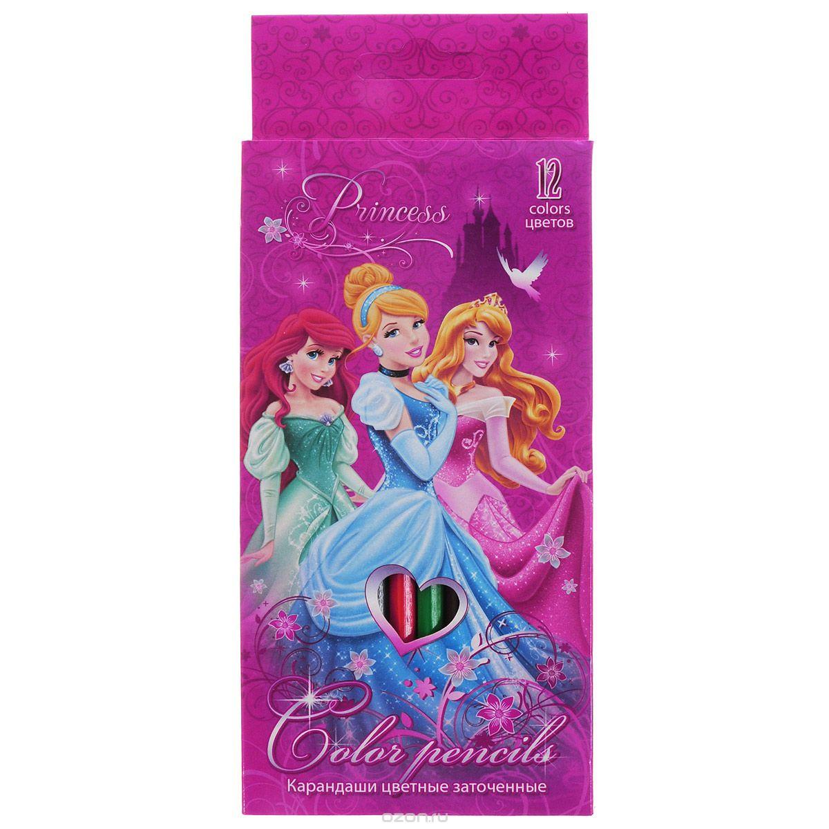 Набор цветных карандашей, 12 шт. Цветные карандаши длиной 17,8 см; заточенные; дерево ; цветной грифель 3 мм; карандаш в цвет грифеля с логотипом;Коробка из мелованного картона, раздвижная, европодвес. PrincessPRBB-US1-1P-12 Набор цветных карандашей Princess состоит из двенадцати ярких и насыщенных цветов.Карандаши уже заточены, поэтому все, что нужно для рисования - это взять чистый лист бумаги, и можно начинать! Поверхность: Бумага.Упаковка: .