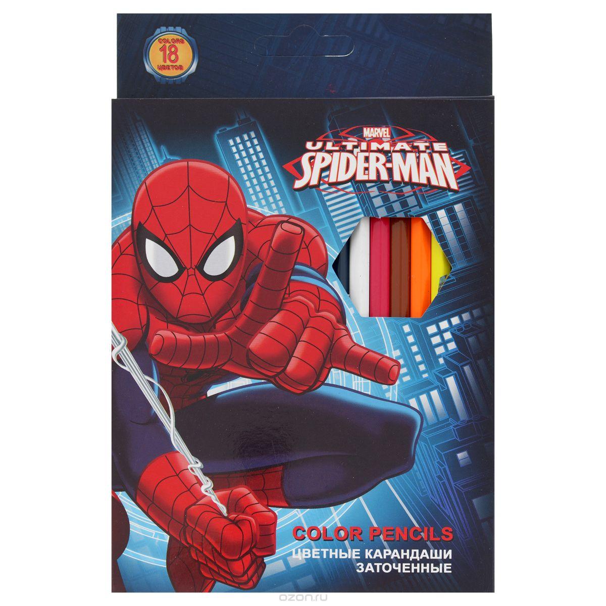 Набор цветных карандашей, 18 шт. Spider-man ClassicSMBB-US2-1P-18Набор цветных карандашей 18 цветов. Яркие, насыщенные цвета, мягкое письмо. Прочный неломающийся грифель диаметром 3 мм. Высококачественная древесина. Двойная проклейка стержня специальным клеем предотвращает поломку грифеля при падении. Легко затачим