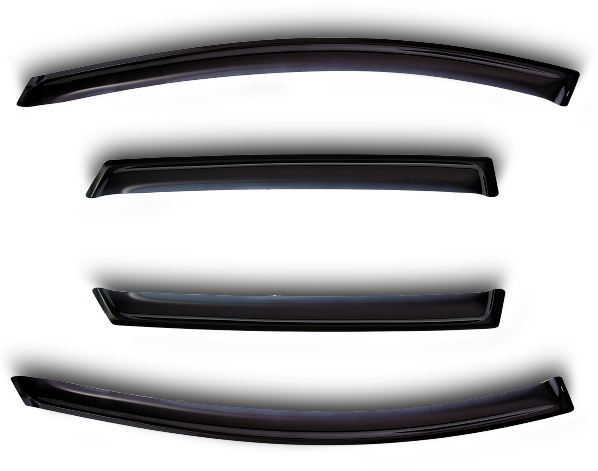 Комплект дефлекторов Novline-Autofamily, для Hyundai Getz 2006-2010, 4 штNLD.SHYGET0632Комплект накладных дефлекторов Novline-Autofamily позволяет направить в салон поток чистого воздуха, защитив от дождя, снега и грязи, а также способствует быстрому отпотеванию стекол в морозную и влажную погоду. Дефлекторы улучшают обтекание автомобиля воздушными потоками, распределяя их особым образом. Дефлекторы Novline-Autofamily в точности повторяют геометрию автомобиля, легко устанавливаются, долговечны, устойчивы к температурным колебаниям, солнечному излучению и воздействию реагентов. Современные композитные материалы обеспечивают высокую гибкость и устойчивость к механическим воздействиям.