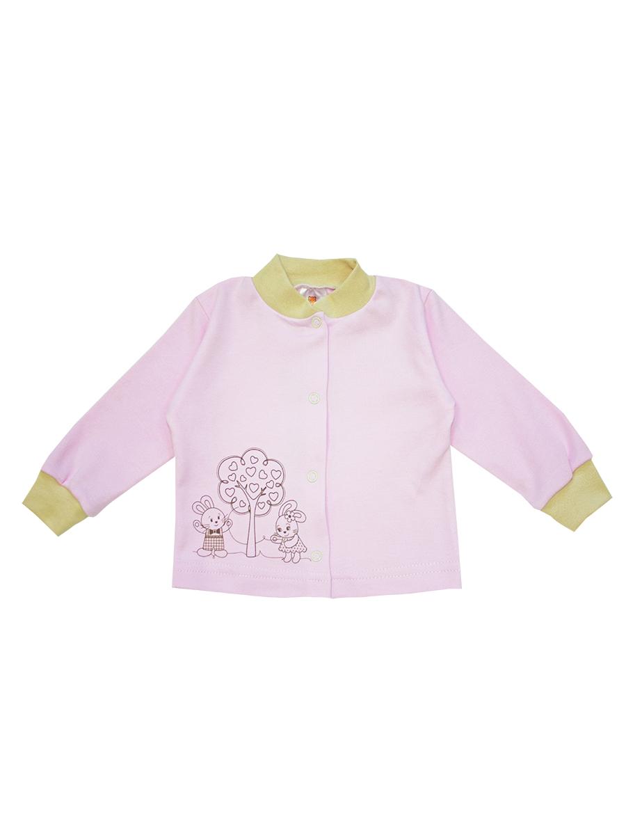 Кофточка для девочки КотМарКот, цвет: розовый, бежевый. 3789. Размер 74, 6-9 месяцев3789Кофточка для девочки КотМарКот послужит идеальным дополнением к гардеробу вашей малышки, обеспечивая ей наибольший комфорт. Кофточка с длинными рукавами и V-образным вырезом горловины изготовлена из натурального хлопка - интерлока, благодаря чему она необычайно мягкая и легкая, не раздражает нежную кожу ребенка и хорошо вентилируется, а эластичные швы приятны телу младенца и не препятствуют его движениям. Удобные застежки-кнопки по всей длине помогают легко переодеть ребенка. Рукава понизу дополнены широкими трикотажными резинками. Спереди изделие оформлено принтом с изображением зайчиков около дерева. Кофточка полностью соответствует особенностям жизни ребенка в ранний период, не стесняя и не ограничивая его в движениях. В ней ваша малышка всегда будет в центре внимания.