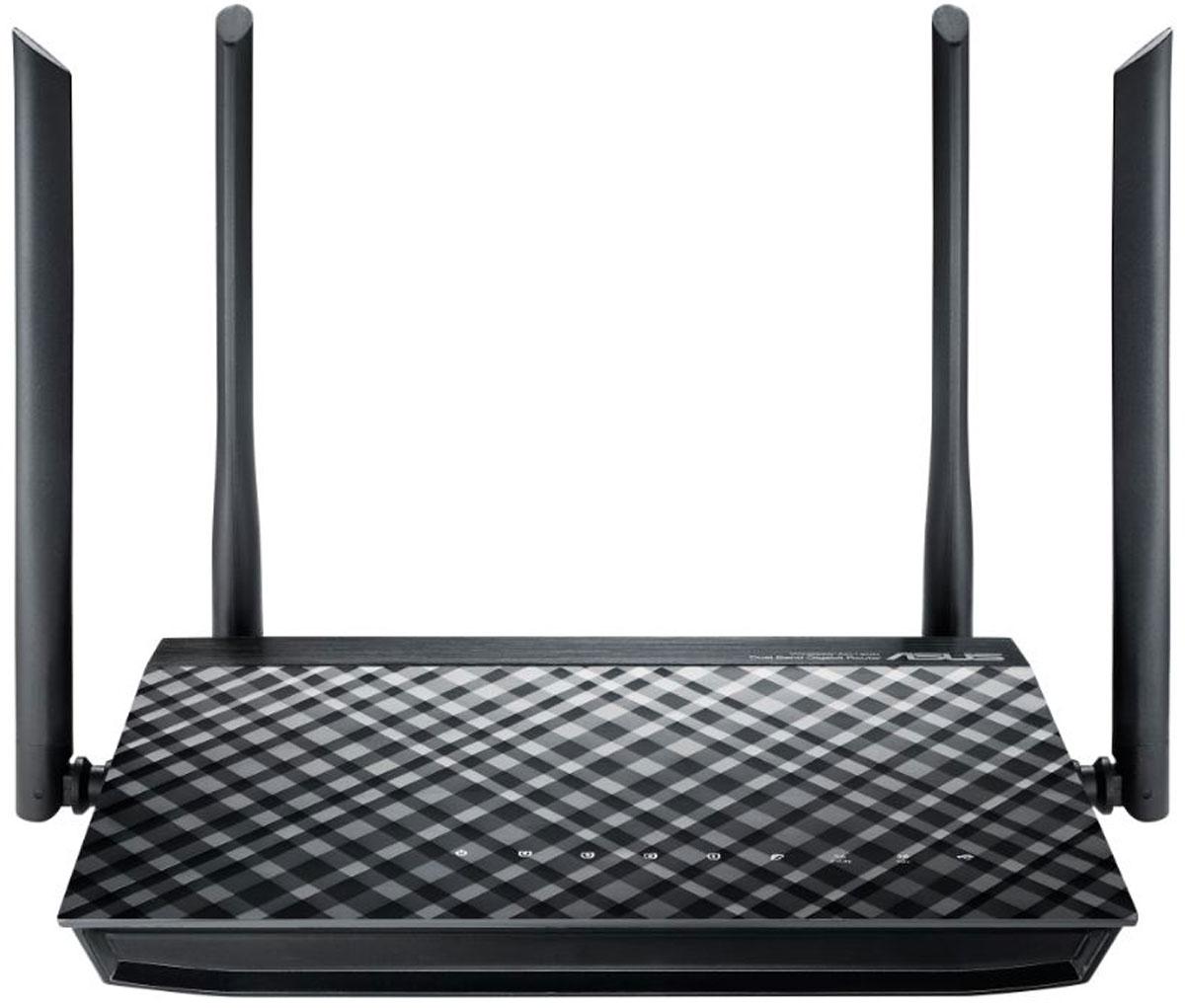 ASUS RT-AC1200GPLUS, Black маршрутизаторRT-AC1200GPLUSНовый двухдиапазонный маршрутизатор ASUS RT-AC1200G+ Современные стандартыAsus RT-AC1200GPLUS - это современный двухдиапазонный беспроводной маршрутизатор с четырьмя внешними антеннами. Поддержка стандарта 802.11ac означает увеличенную скорость передачи данных по сети Wi-Fi, а благодаря разъему USB 2.0 к маршрутизатору можно подключить 3G/4G-модемы, принтеры и внешние накопители, что позволит расширить функциональность устройства. С помощью технологии ASUS AiCloud пользователь сможет получить доступ к его файлам, хранящимся в домашней сети и облачных хранилищах, где бы он ни находился.Высокая скорость передачи данныхЭто беспроводной маршрутизатор стандарта 802.11ac, обеспечивающий скорость передачи данных в диапазоне 5 ГГц до 867 Мбит/с, что по сравнению с обычным роутером, в 3 раза быстрее. Поддержка стандарта 802.11ac, реализованная с помощью чипсета Broadcom, означает, что владельцы нового RT-AC1200G Plus могут насладиться онлайн-играми без задержек и комфортной работой даже с самыми требовательными к полосе пропускания системами.Большой радиус действия беспроводного модуляБольшая зона покрытия, обеспечиваемая четырьмя антеннами и оптимизированным усилителем сигнала, делают RT-AC1200G Plus идеальным выбором для больших помещений, а поддержка стандарта Wi-Fi 802.11ac означает повышенную скорость передачи данных.Технология AiRadarТехнология ASUS AiRadar служит для увеличения зоны покрытия сети Wi-Fi. Интеллектуально определяя расположение подключенных устройств, RT-AC1200G Plus преобразует слабый всенаправленный сигнал в сильный однонаправленный, что обеспечивает более высокую скорость передачи данных.Поддержка двух частотных диапазонов для беспроводных сетейБлагодаря возможности одновременной работы в двух частотных диапазонах (2,4 и 5 ГГц) со скоростью 300 Мбит/с и 867 Мбит/с, соответственно, RT-AC1200G Plus обеспечивает общую скорость передачи данных по беспроводной сети на уровне 1167 Мбит/с. Это позволяет в