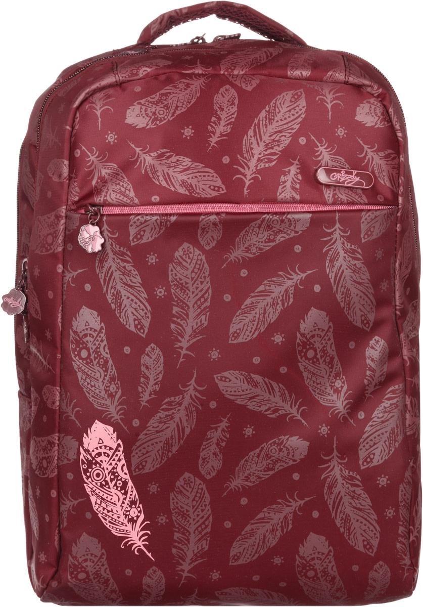 Рюкзак женский Grizzly, цвет: бордовый, 20 л, 21 л. RD-649-1/4 рюкзаки grizzly рюкзак