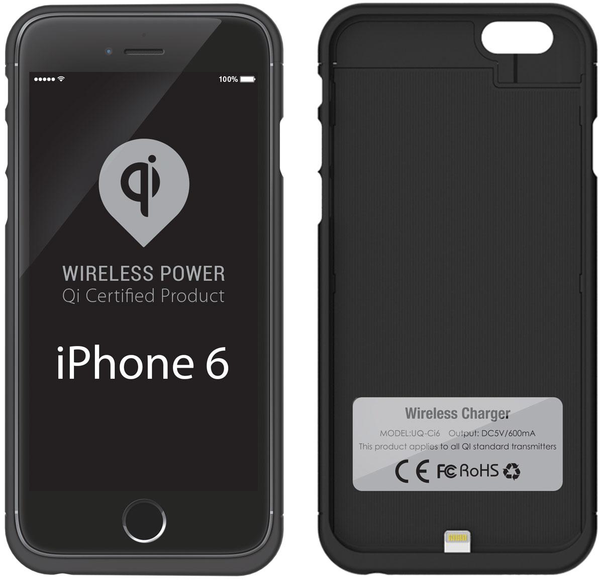 UPVEL UQ-Ci6 Stingray для iPhone 6, Black чехол-приемник для беспроводной зарядки стандарта QiUQ-Ci6 STINGRAYЧехол UPVEL UQ-Ci5 для iPhone 6 представляет собой аксессуар два в одном. Во-первых, он позволяет вашему iPhone 6 заряжаться от беспроводных устройств стандарта Qi и избавляет вас от необходимости постоянно подключать и отключать кабель зарядного устройства. Во-вторых, чехол прекрасно справляется с защитой телефона от повреждений и царапин.Рабочее расстояние: 3-7 ммЭффективность: 500 мАчСтандарты: WPC-1.0, WPC-1.1