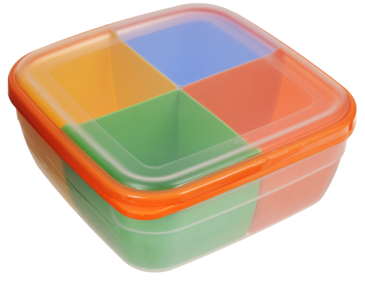 Контейнер-менажница для СВЧ Полимербыт, с крышкой, 2,2 л56701Контейнер-менажница для СВЧ Полимербыт изготовлен из высококачественного прочного пластика, устойчивого к высоким температурам (до +120°С). Крышка плотно закрывается, дольше сохраняя продукты свежими и вкусными. Контейнер снабжен 4 цветными съемными секциями, которые позволяют хранить сразу несколько продуктов или блюд. Он идеально подходит для хранения пищи, его удобно брать с собой на работу, учебу, пикник или просто использовать для хранения пищи в холодильнике.Можно использовать в микроволновой печи и для заморозки в морозильной камере. Можно мыть в посудомоечной машине. Размер секции: 9 х 9 х 7 см. Уважаемые клиенты! Обращаем ваше внимание на возможные изменения в цвете некоторых деталей товара. Поставка осуществляется в зависимости от наличия на складе.