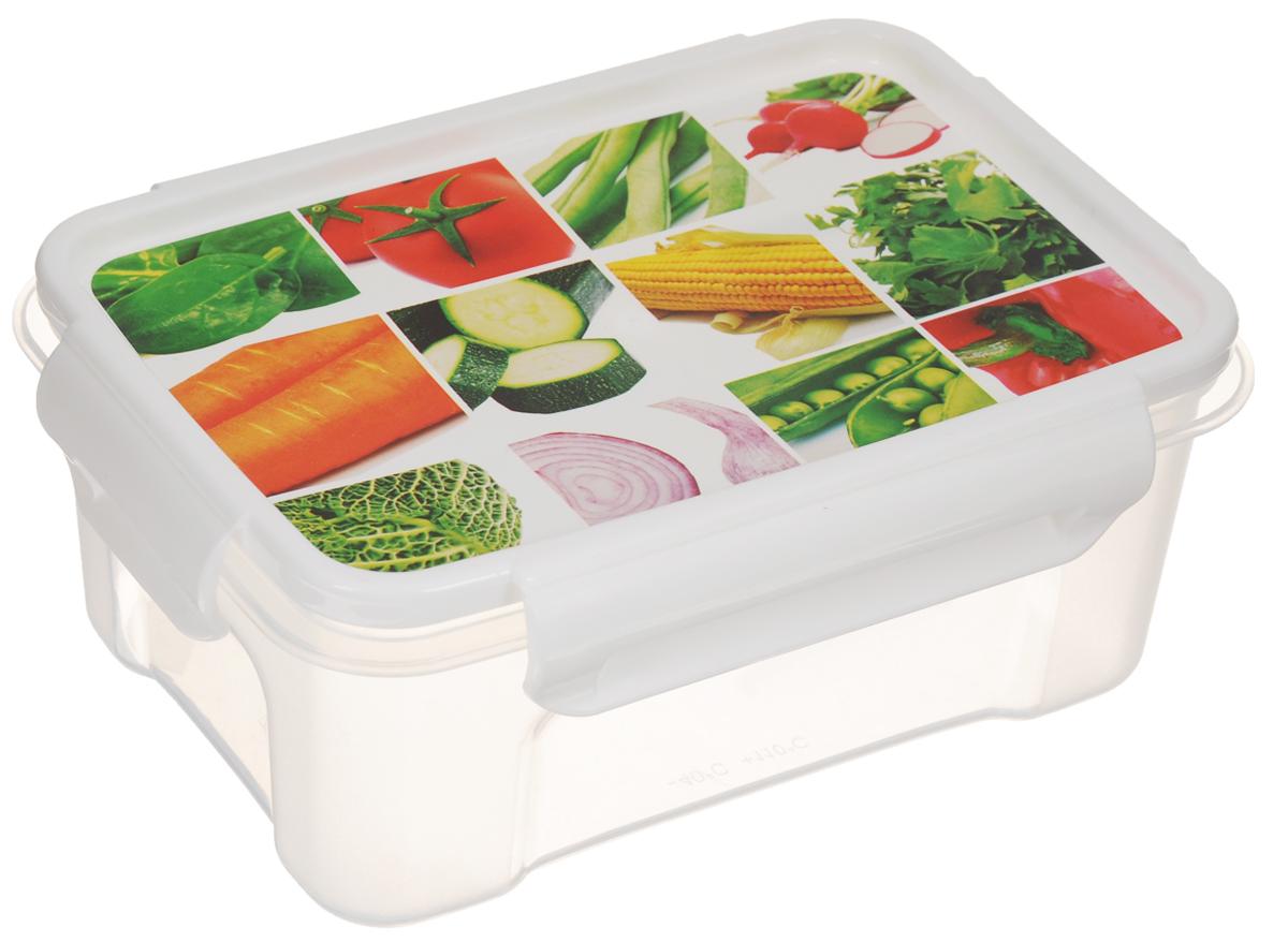 """Контейнер Полимербыт """"Лок декор. Овощи в квадратиках"""" прямоугольной формы, изготовленный из прочного пластика, предназначен специально для хранения пищевых продуктов. Крышка, декорированная изображением овощей, легко открывается и плотно закрывается.   Контейнер устойчив к воздействию масел и жиров, легко моется. Прозрачные стенки позволяют видеть содержимое. Контейнер имеет возможность хранения продуктов глубокой заморозки, обладает высокой прочностью.  Можно мыть в посудомоечной машине. Подходит для использования в микроволновых печах."""