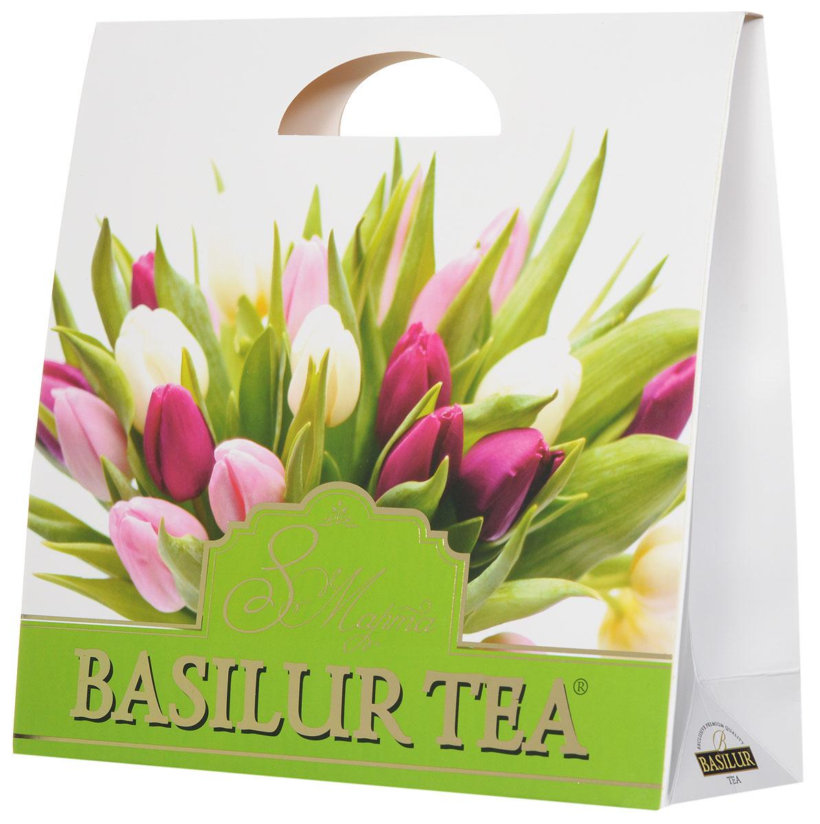 Basilur Подарочный набор Изящный зеленый ягодный чай Париж и салфетка для дома в подарок, 100 г basilur чайный набор букет белое волшебство