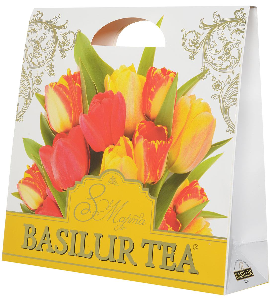 Basilur Подарочный набор Красочный зеленый ягодный чай Париж и салфетка для дома в подарок, 100 г basilur чайный набор букет белое волшебство