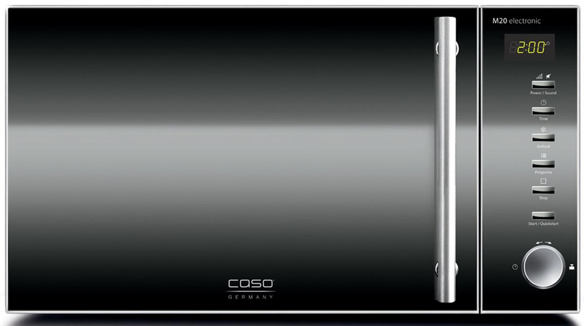 Caso M 20 Electronic, Black микроволновая печьM 20 Electronic BlackМикроволновая печь Caso M 20 Electronic имеет объем 20 литров, что вполне достаточно для разморозки,приготовления или разогрева блюд среднего и большого размера, а также для выпечки в формах. Мощностьмикроволнового излучения составляет 800 Вт. Микроволновая печь может предложить 5 уровней мощностимикроволнового излучения, 60 минут времени на таймере, как максимальную величину, а также режимразмораживания полуфабрикатов. К тому же, камера печи оснащена яркой подсветкой, а сама печь - звуковымсигналом окончания таймера с возможностью его отключения.Диаметр тарелки: 25,5 см