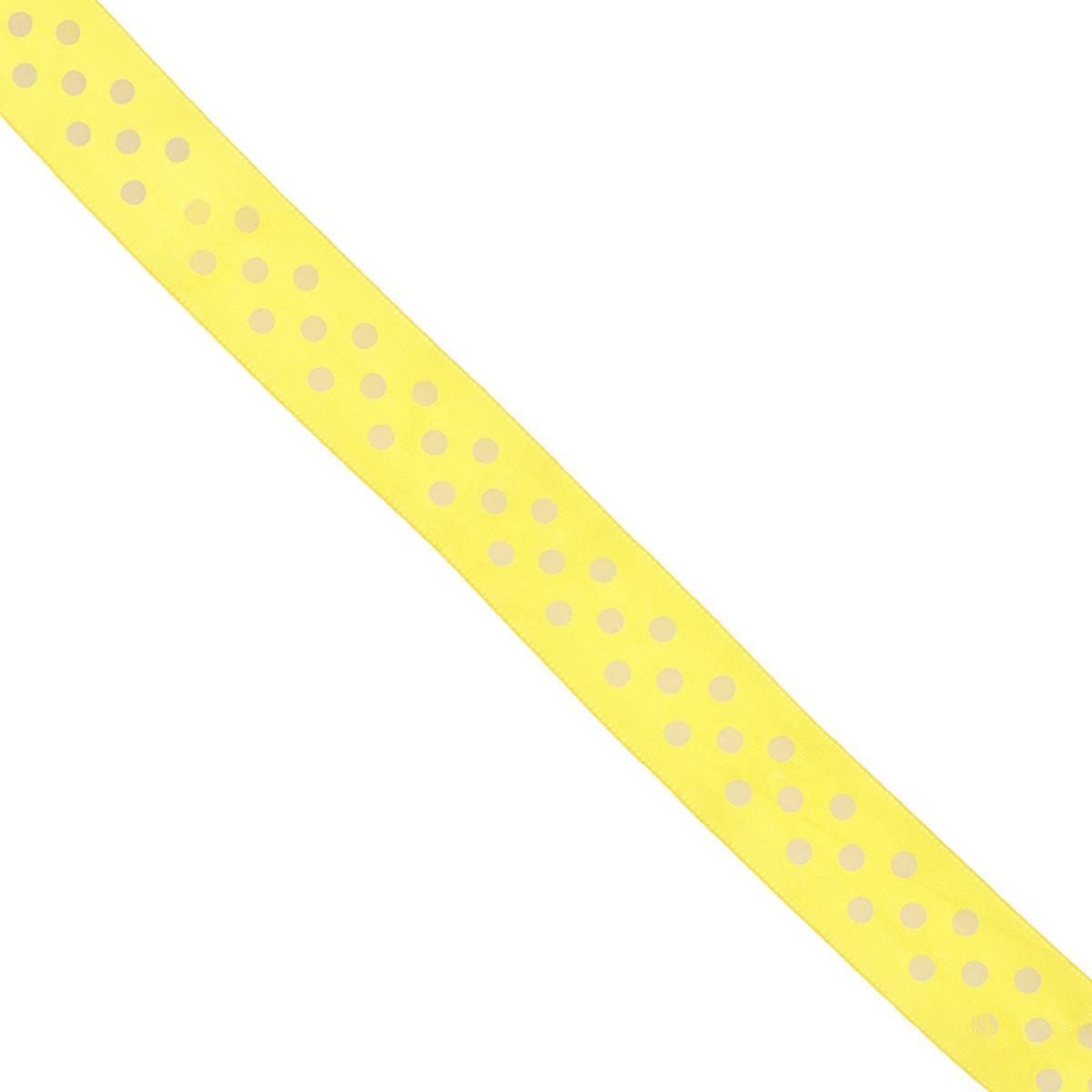Лента атласная Dekor Line Горошек, цвет: желтый, белый, ширина 2,5 см, длина 3 м7710569_желтыйАтласная лента Dekor Line Горошек выполнена из высококачественного полиэстера. Область применения атласной ленты весьма широка. Лента предназначена для оформления цветочных букетов, подарочных коробок, пакетов. Кроме того, она с успехом применяется для художественного оформления витрин, праздничного оформления помещений, изготовления искусственных цветов. Ее также можно использовать для творчества в различных техниках, таких как скрапбукинг, оформление аппликаций, для украшения фотоальбомов, подарков, конвертов, фоторамок, открыток и прочего.Ширина ленты: 2,5 см.Длина ленты: 3 м.