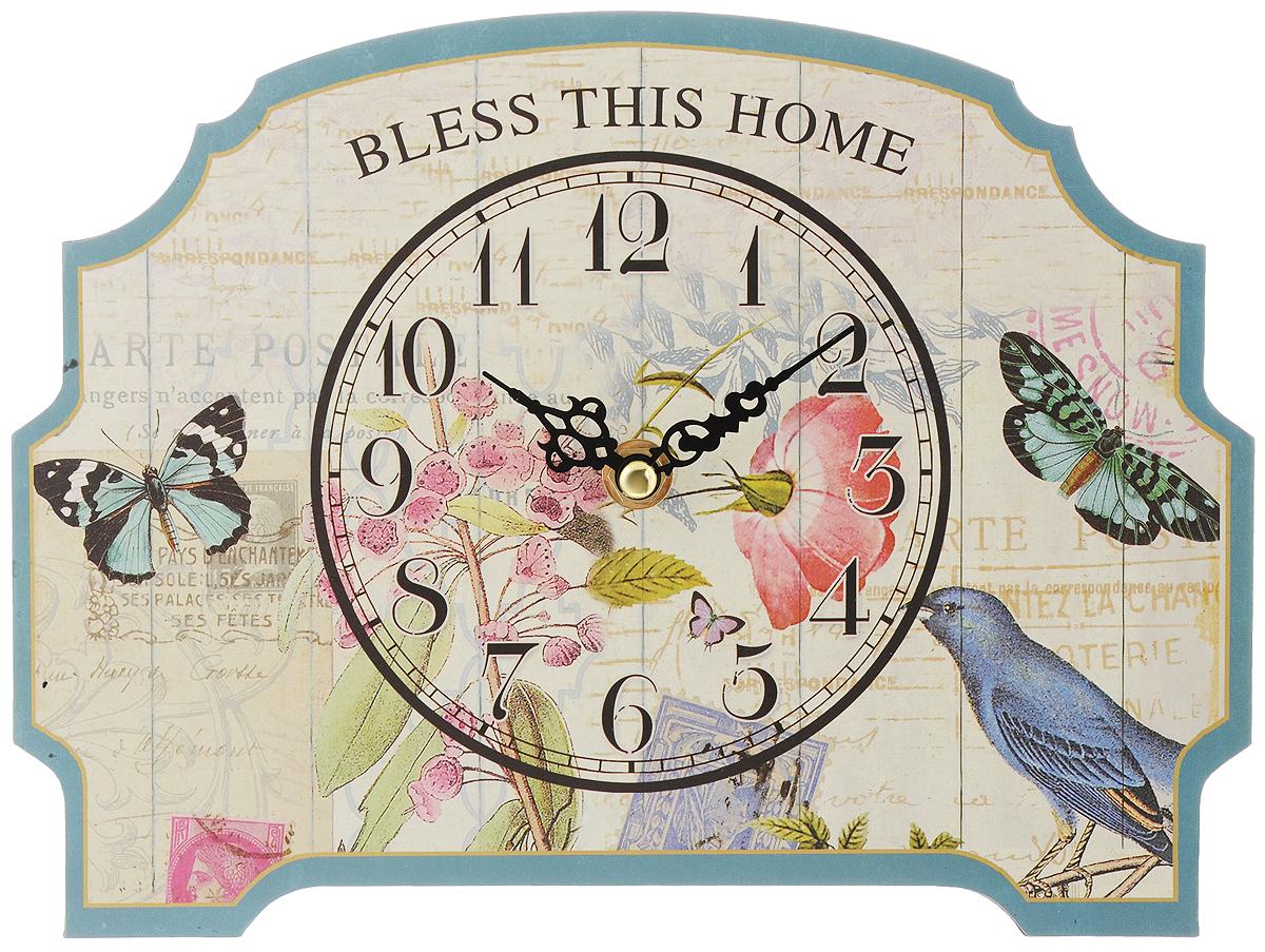 Часы настенные Феникс-Презент Порхающие бабочки, 24 х 18 см40721Настенные часы круглой формы Феникс-Презент Порхающие бабочки, выполненные из МДФ, своим эксклюзивным дизайном подчеркнут оригинальность интерьера вашего дома. Циферблат оформлен изображением цветов. МДФ (мелкодисперсные фракции) представляет собой плиту из запрессованной вакуумным способом деревянной пыли и является наиболее экологически чистым материалом среди себе подобных. Часы имеют две стрелки - часовую и минутную. Настенные часы Феникс-Презент Порхающие бабочки подходят для кухни, гостиной, прихожей или дачи, а также могут стать отличным подарком для друзей и близких. Необходимо докупить 1 батарею напряжением 1,5V типа АА (не входит в комплект).