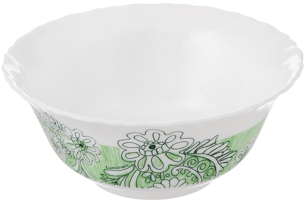 Салатник Luminarc Minelli, цвет: белый, зеленый, диаметр 12,5 смJ7037Салатник Luminarc Minelli, изготовленный из высококачественного стекла, прекрасно впишется в интерьер вашей кухни и станет достойным дополнением к кухонному инвентарю. Салатник оформлен ярким рисунком. Такой салатник не только украсит ваш кухонный стол и подчеркнет прекрасный вкус хозяйки, но и станет отличным подарком.Диаметр по верхнему краю: 12,5 см.