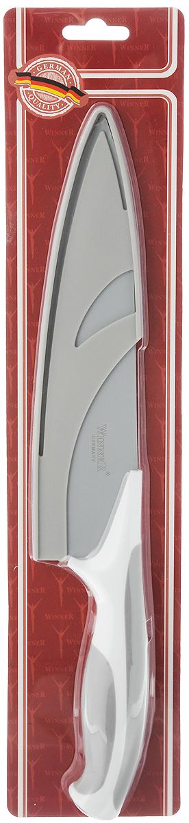 Нож поварской Winner, с чехлом, цвет: серый, белый, длина лезвия 18,2 см. WR-7224WR-7224 серый, белыйПоварской нож Winner выполнен из высококачественной нержавеющей стали с цветным полимерным покрытием Xynflon, предотвращающим прилипание продуктов. Очень удобная и эргономичная ручка выполнена из прорезиненного пластика. Нож предназначен для нарезки мяса, рыбы, овощей и фруктов.Нож Winner держит заводскую заточку в несколько раз дольше, чем обычные стальные ножи. Продукты, которые вы нарезаете таким ножом, не прилипают к лезвию ножа, не вступают в химическую реакцию, не окисляются и не намагничиваются. Нож очень удобен в эксплуатации, не царапается, легко моется. Поварской нож Winner предоставит вам все необходимые возможности в успешном приготовлении пищи и порадует вас своими результатами.К ножу прилагаются пластиковые ножны.Общая длина ножа: 31,2 см.Толщина лезвия: 1,8 мм.