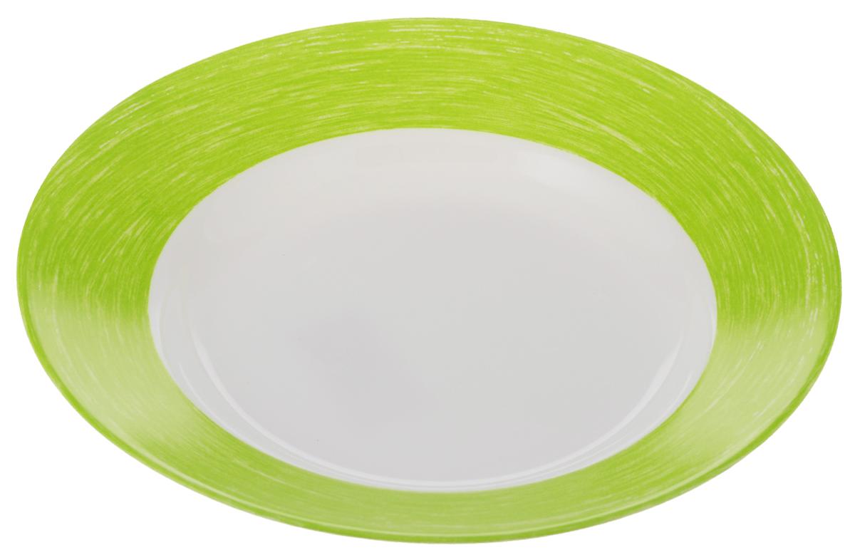 Тарелка суповая Luminarc Color Days, цвет: белый, салатовый, диаметр 22 смL1496Суповая тарелка Luminarc Color Days выполнена из ударопрочного стекла. Она прекрасно впишется в интерьер вашей кухни и станет достойным дополнением к кухонному инвентарю. Тарелка Luminarc Color Days подчеркнет прекрасный вкус хозяйки и станет отличным подарком. Можно мыть в посудомоечной машине и использовать в микроволновой печи.Диаметр тарелки: 22 см.