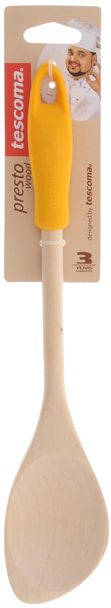 Ложка кулинарная Tescoma Presto Wood, с углом, цвет: темно-желтый, длина 30 см637212_темно-желтыйЛожка Tescoma Presto Wood изготовлена из экологически чистого материала - качественной березовой древесины, обладающей уникальной текстурой. Элегантная ручка имеет противоскользящую обработку, что дает возможность удобно и комфортно пользоваться ложкой. Такая кухонная принадлежность подходит для всех видов посуды, а также замечательна для посуды с антипригарным покрытием.Ложка Tescoma Presto Wood станет вашим незаменимым помощником на кухне, а также это практичный и необходимый подарок любой хозяйке!Размер рабочей поверхности: 5,6 х 8 см. Общая длина ложки: 30 см.