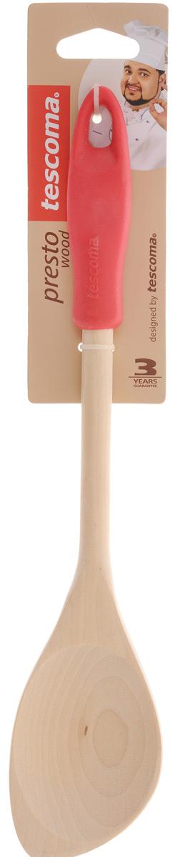 Ложка кулинарная Tescoma Presto Wood, с углом, цвет: красный, длина 30 см ложка кулинарная tescoma space line с углом цвет черный длина 31 см