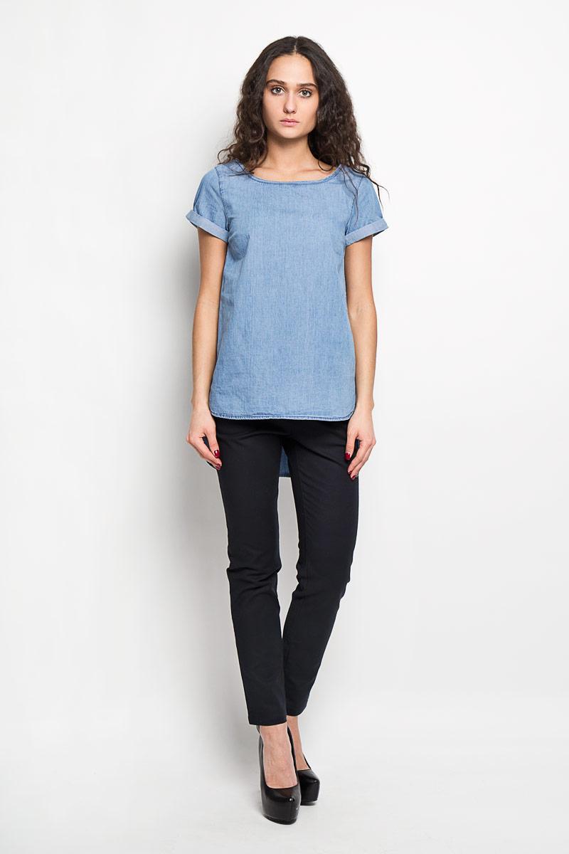 Блузка женская Baon, цвет: голубой. B196042. Размер XS (42)B196042Стильная женская блуза Baon, выполненная из 100% хлопка, подчеркнет ваш уникальный стиль и поможет создать оригинальный женственный образ.Блузка с короткими рукавами и круглым вырезом горловины имеет оригинальную удлиненную спинку. Рукава оформлены декоративными подгибами. Такая блузка идеально подойдет для жарких летних дней. Такая блузка будет дарить вам комфорт в течение всего дня и послужит замечательным дополнением к вашему гардеробу.