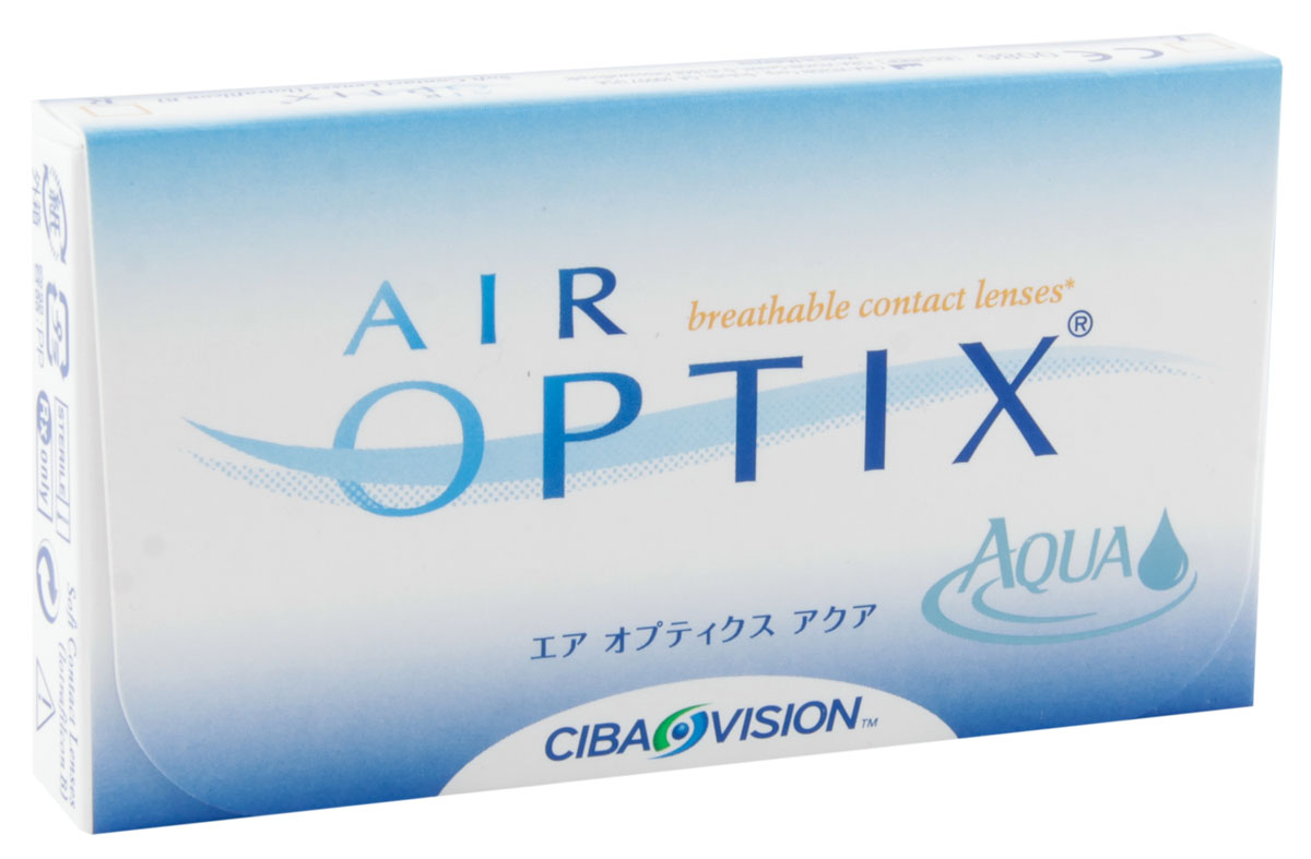 Alcon-CIBA Vision контактные линзы Air Optix Aqua (3шт / 8.6 / 14.20 / -0.50)12161Air Optix Aqua являются революционными силикон-гидрогелевыми новейшими контактными линзами от производителя, известного во всем мире - Ciba Vision. Когда началась разработка этих линз, то в качестве основы взяли известные линзы предшествующего поколения. Их доработала команда профессионалов, учитывая новые технологии и возможности. Как и предшествующая модель, эти линзы сделаны из расчета месячного ношения. Производят линзы из нового материала лотрафикон В, показывающего отличный результат по содержанию влаги и по проводимости кислорода. Линзы можно носить как в дневное время (в течение тридцати дней), так и для пролонгированного применения в течение 6 суток. Но каким бы режимом вы не воспользовались при их ношении - на протяжении всего месяца линзы будут следить за вашими глазами, подарив вам комфорт и увлажненность. Технологии Aqua Moisture - это комплексные меры от известной фирмы Ciba Vision, которые используются при производстве линз. Во-первых, в них входит революционный увлажняющий агент, препятствующий высыханию линзы, делая их для глаз совсем незаметными. Во-вторых, запатентованный материал поможет поддержать на высоком уровне увлажненность, поэтому носить линзы на протяжении всего времени, довольно комфортно. В-третьих, отполированные поверхности линзы придают идеальное скольжение. Кроме этого линза довольно устойчива к отложениям и всяческим загрязнениям. Как и линза предшествующего поколения, Air Optix Aqua имеет довольно высокую кислородопроводность - 138 Dk/L. Данный показатель значительно больше, чем у других конкурентов. Новейшие представленные линзы навсегда оградят вас от сухости и дискомфорта! Характеристики:Материал: лотрафикон В. Кривизна: 8.6. Оптическая сила: - 0.50. Содержание воды: 33%. Диаметр: 14,2 мм. Количество линз: 3 шт. Размер упаковки: 9 см х 5 см х 1,3 см. Производитель: США. Товар сертифицирован.Контактные линзы или очки: советы офтальмологов. Статья 