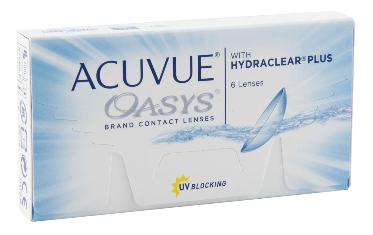 Johnson & Johnson контактные линзы Acuvue Oasys (6шт / 8.4 / -4.50)100047567Acuvue Oasys With Hydraclear Plus являются двухнедельными контактными линзами, которые производит компания Johnson & Johnson. Эти линзы отлично подойдут людям, которые много времени проводят в сухих помещениях или людям которые вынуждены долго работать за компьютером. Технология Hydraclear Plus придает контактным линзам невероятно гладкий и мягкий эффект, создав максимально комфортные условия для ношения. А увлажняющий запатентованный агент внутри линзы, позволит вашим глазам быть увлажненными в течение всего дня. Acuvue Oasys создают из силиконо-гидрогелевого материала. Главной его особенностью остается высокий уровень поступления кислорода.Это позволит вашим глазам быть всегда здоровыми. Кроме этого линзы снабдили УФ-фильтром, который способен сдерживать УФ-A лучи (более 95%) и УФ-В лучи (99%). Можно носить Acuvue Oasys две недели, при этом дневной режим ношения не должен превышать 12 часов, либо можно носить постоянно 7 дней.Контактная линза Acuvue Oasys With Hydraclear Plusявляется лучшим решением для людей, кто испытывает постоянное напряжение глаз. Дневное ношение - замена через 2 недели.Пролонгированное ношение - замена через 1 неделю. Характеристики:Материал: сенофилкон А. Кривизна: 8.4. Оптическая сила: - 4.50. Содержание воды: 48%. Диаметр: 14 мм. Количество линз: 6 шт. Размер упаковки: 9,5 см х 5 см х 1,5 см. Производитель: Ирландия. Товар сертифицирован.Контактные линзы или очки: советы офтальмологов. Статья OZON Гид