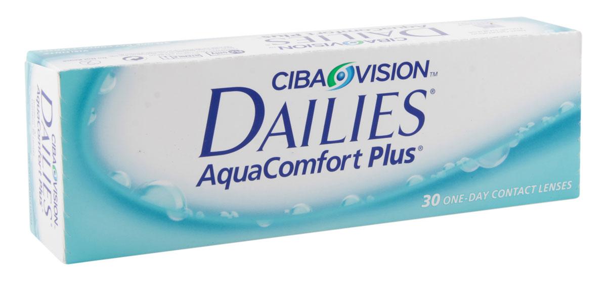 Alcon-CIBA Vision Контактные линзы Dailies AquaComfort Plus (30 шт / 8.7 / 14.0 / +2.25)12049Dailies AquaComfort Plus - это одни из самых популярных однодневных линз производства компании Ciba Vision. Эти линзы пользуются огромной популярностью во всем мире и являются на сегодняшний день самыми безопасными контактными линзами. Изготавливаются линзы из современного, 100% безопасного материала нелфилкон А. Особенность этого материала в том, что он легко пропускает воздух и хорошо сохраняет влагу. Однодневные контактные линзы Dailies AquaComfort Plus не нуждаются в дополнительном уходе и затратах, каждый день вы надеваете свежую пару линз. Дизайн линзы биосовместимый, что гарантирует безупречный комфорт. Самое главное достоинство Dailies AquaComfort Plus - это их уникальная система увлажнения. Благодаря этой разработке линзы увлажняются тремя различными агентами. Первый компонент, ухаживающий за линзами, находится в растворе, он как бы обволакивает линзу, обеспечивая чрезвычайно комфортное надевание. Второй агент выделяется на протяжении всего дня, он непрерывно смачивает линзы. Третий - увлажняющий агент, выделяется во время моргания, благодаря ему поддерживается постоянный комфорт. Также линзы имеют УФ-фильтр, который будет заботиться о ваших глазах. Dailies AquaComfort Plus - одни из лучших линз в своей категории. Всемирно известная компания Ciba Vision, создавая эти контактные линзы, попыталась учесть все потребности пациентов и ей это удалось!