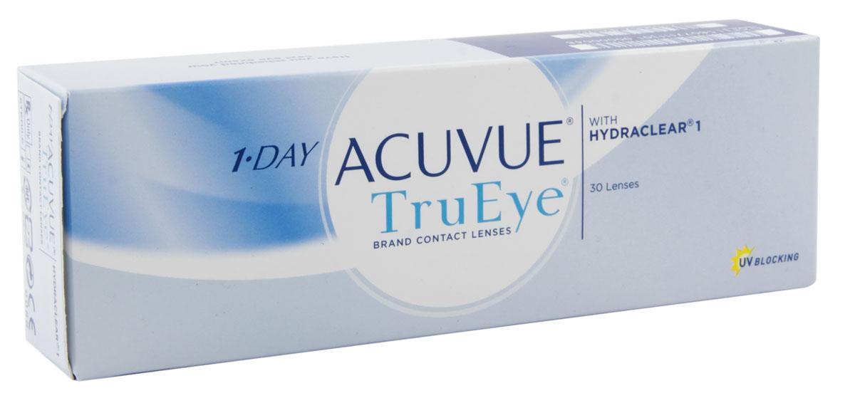 Johnson & Johnson контактные линзы 1-Day Acuvue TruEye (30шт / 8.5 / -2.00)12168Контактные линзы 1-Day Acuvue TruEye - сенсационная новинка от всемирного лидера по производству контактных линз, компании Johnson&Johnson. Качество, надежность, комфорт. Линзы 1-Day Acuvue TruEye - однодневные силикон-гидрогелевые линзы. Они изготовлены из воздухопроницаемого материала нарафилкон А, благодаря которому удалось достичь потрясающих показателей по кислородопроницаемости. Коэффициент пропускания кислорода (Dk/t) равен 118. А применение технологии Hydraclear делает линзы ультрагладкими. Благодаря этому линзы 1-Day Acuvue TruEye совершенно не ощутимы на глазах. Кроме того, линзы 1-Day Acuvue TruEye обладают высшим уровнем защиты от УФ-излучения. Все эти характеристики делают их незаменимыми и непревзойденными помощниками в условиях агрессивной среды большого города. Характеристики:Материал: нарафилкон А. Кривизна: 8.5. Оптическая сила: - 2.00. Содержание воды: 46%. Диаметр: 14.2 мм. Количество линз: 30 шт. Размер упаковки: 15 см х 5 см х 3 см. Производитель: Ирландия. Товар сертифицирован.Контактные линзы или очки: советы офтальмологов. Статья OZON Гид