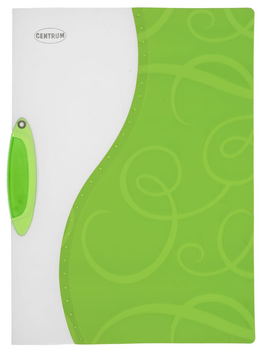 Centrum Папка с клипом цвет белый зеленый формат A483618_зелёныйПапка с клипом Centrum - это удобный и практичный офисный инструмент, предназначенный для хранения и транспортировки неперфорированных рабочих бумаг и документов формата А4. Она изготовлена из прочного пластика и оснащена боковым поворотным клипом, позволяющим фиксировать неперфорированные листы. Уголки имеют закругленную форму, что предотвращает их загибание и помогает надолго сохранить опрятный вид обложки. Папка оформлена декоративным тиснением и оригинальной двухцветной обложкой. Папка - это незаменимый атрибут для студента, школьника, офисного работника. Такая папка практична в использовании и надежно сохранит ваши документы и сбережет их от повреждений, пыли и влаги.